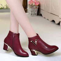 Wholesale 2016 New Fashion Genuine Leather Boot Shoe Ankle Length Decor Martin Thick Heel Woman Boot Shoe Single Pointed Toe Boots Shoes