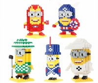 Wholesale QCF Minions Micro Blocks Cartoon Mini action figures DIY assembly Toys Minions Kids Gift