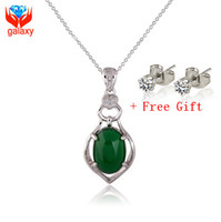 Wholesale Luxury Jade Jewelry - Luxury Natural Malay Jade Stone Necklace Pendants 2015 New Trendy 18K White Gold Plated Fashion Jewelry Valentines Gift for Women ZN037