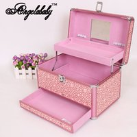 beauty drawer - New Real Black Pincel Makeup Cosmetic Box Double Layer Beauty With Lock Household Portable Medium Automatic Drawer Storage