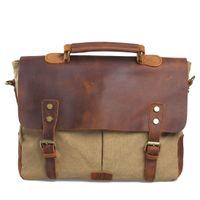 Wholesale Fashion New Men s Vintage Canvas Leather Bag Shoulder Bag Student School Duffel Bags Laptop Tote Handbag