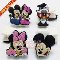 Wholesale Mickey Minnie paper clip binder clip plastic clip Paper Clips bookmarks cartoon bookmarks soft rubber PVC bookmarks for stationery