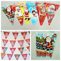 Wholesale 10pcs Christmas Triangle Flags Colorful Paper Christmas Decorations Ceiling Ornaments Bar Hall Decoration