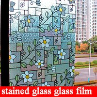 adhesive stained glass - Home Decor Supplier Artitic Glass Non Adhesive Static Cling cm Stained Glass Window Film