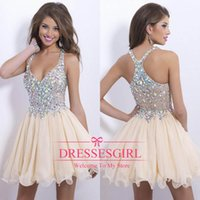 Wholesale Best selling new arrival sexy halter cocktail party dresses sparkly sequins beaded crystals backles short prom homecoming gowns BO9857