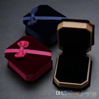 Wholesale Bowknot Flannelette Necklace Ring Earrings Show Case Display Storage Jewelry Gift Box MO