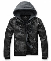 Cheap The hooded explosion models new Korean version of casual men's leather jackets machine wagon models