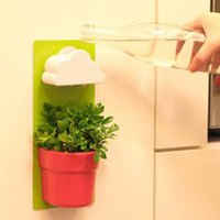 Wholesale New Funny Clouds Rainy Pot Wall hung Flower Pot Yard Plants Home Decoration Green NVIE order lt no track