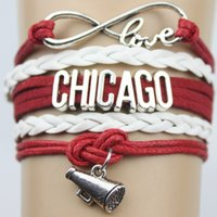 american red bull - Top Quality Infinity Love BULLS basketball Team Bracelet red black Customized Chicago Wristband friendship Bracelets