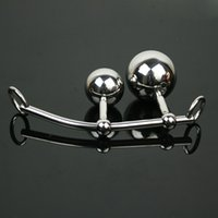 Cheap Wholesale - Real stainless steel cock ring anal plug bondage with balls female chastity belt Free Shipping No.612