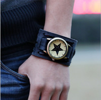 battery rock band - Voberry New Style Retro Punk Rock Dark Brown Wide Leather Cuff Band Wrist Watch