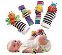 bee wristbands - 120sets New arrival sozzy Wrist rattle foot finder Baby toys Garden Bug Bee Baby Rattle Socks Lamaze Baby Rattle Socks and wristbands