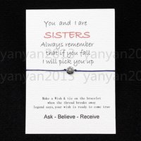 Wholesale 2016 new Sisters love Card with Hearts Charm bracelet wish best friend Birthday Greeting card Valentine s Day gift