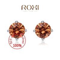 Wholesale 015 ROXI Sterling silver Stud earrings Fine Jewelry Silver AAA CZ Modelling Round Champagne Ear Stud Beauty Earrings