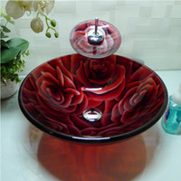 Wholesale Bathroom tempered glass sink handcraft counter top round basin wash basins cloakroom shampoo vessel bowl HX020