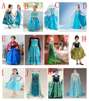 Wholesale frozen palace dress Frozen elsa anna dress royal dress elegant baby girls elegant princess dress with cape in stock