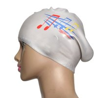 Wholesale Silver Silicone Swimming Long Hair Cap Ear Wrap Waterproof Hat Note Pattern