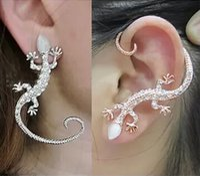 Wholesale Popular Fashion Jewelry Ear Cuff Earrings Women Gecko Diamond Rhinestone Gold White Ear Cuffs On Ears Fast Shipping