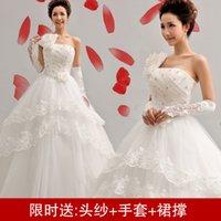 Wholesale Shoulder wedding dress new factory direct Korean version of sweet princess oblique shoulder straps Qi wedding flowers
