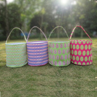 Wholesale Ready in stock Blanks Eggs and Rabbit Easter Holiday Bucket Colors Easter Tote Bags With Single Handle DOM103094