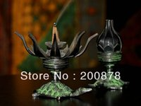 Wholesale HDC0698 Indian bronze lotus tortoise lamp candleholder candle stick mm Resale and