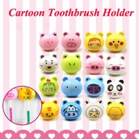 Wholesale 6 Colors Cute Cartoon Animal Head Toothbrush Holder stand Cute Cup Mount Suction