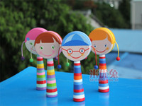 Wholesale 70pcs new arrive popular china rattles baby toys hand shaking drum pull rattle auspicious in stock now D120
