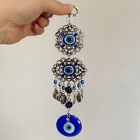 Wholesale antique silver coins jewelry car hanging decoration blue evil eye jewellery in China
