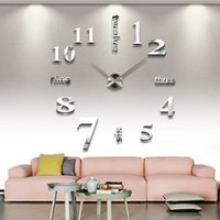Wholesale Modern DIY Large Wall Clock D Mirror Surface Sticker Home Office Decor Just For Want A Warm Home orologio parete Smile
