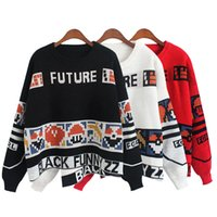 autumn puzzles - New Autumn Women Geometric Puzzle Sweaters Round Neck Long sleeved Knit black Pullover Loose Sweater