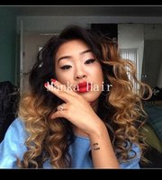 Wholesale 150 density curly glueless full lace wigs human hair ombre lace front wigs for black women bleached knots baby hair