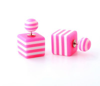 Wholesale Geometric Candy Color Stud Earring Bead Square Striped Pattern Earrings Double Side Pearl Stud Earrings For Women Fashion Jewelry