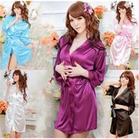 Wholesale Womens Ladies Open Front Sexy Lingerie Set Robe Pajamas Nightgown Sleepwear Costume Thong Underwear Chemise Free Size