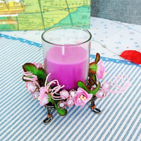 Wholesale The new cafe bar candle wedding wrought iron candelabra candle wreath utensils colors KX3355