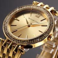 Wholesale Taylor Cole Luxury Brand Gold Rond Bling Crystal Bezel Relogios Feminino Quartz Analog Clock Casual Women Dress Wristwatch TC001