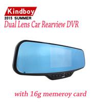 Compra Cámaras de lentes de porcelana-2015 nueva dvr dual de la lente del coche DVR Retrovisor Espejo cámara HD 720P 30FPS 12.0mp CMOS 4.3