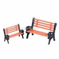 park bench - Mini furniture plastic park benches toys model accessories for home decoration or doll house