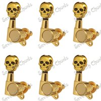 Wholesale A Set R Gold Inline Guitar String Tuning Pegs Tuners Machine Heads for Electric Guitar Skull Head Button