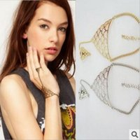 Cheap Vintage Womens Cuff Bangle Chain Bracelet Retro Fashion Punk Gold Plated Charm Hollow Metal Jewelry