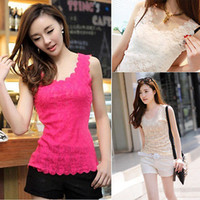 Wholesale New Women Candy Color Floral Lace Sexy Top Short Sleeve Blouse Crew Neck shirt
