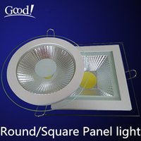 bathroom light covers - LED Downlight COB Dimmable W W W W W Warm Cold White LED COB Panel Light AC85 V Recessed COB Downlight Glass Cover LED Spot bulb