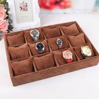 acrylic plate display stands - quality brown velvet watch plate bracelet holder small pillow jewelry display box pallet box storage props