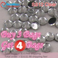 Wholesale Buy bags get bag free SS12 Clear Crystal DMC HotFix FlatBack Strass Rhinestones Hot Fix Crystal Stones