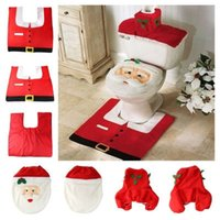 TV & Movie Costumes toilet seat covers - 2014 Hot Fancy Santa Toilet Seat Cover and Rug Bathroom Set Contour Rug Christmas Decoration For Christmas