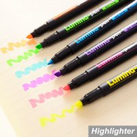 Wholesale 6 Lumina pens Highlighter for paper copy fax DIY drawing Marker pen Stationery office material School supplies