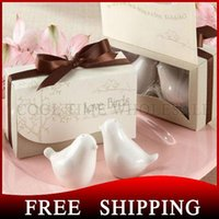 Wholesale 200pcs Love Birds Ceramic Salt And Pepper Shaker Wedding Favors And Gifts