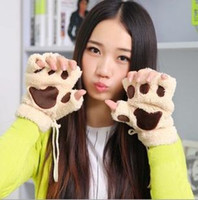 Wholesale New Arrivel Girls Woman Winter Fluffy Bear Cat Plush Paw Claw Glove Novelty Soft Toweling Lady s Half Covered Mittens Fingerless Gloves