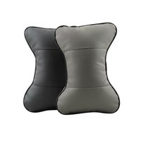 Wholesale 1pc leather Hole digging Car Headrest Supplies Neck Auto Safety Pillow black color Hot Selling