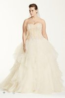 Wholesale 2016 NEW Oleg Cassini Organza Ruffle Skirt Wedding Dresses Sweetheart Appliques Elegant Plus Size Bridal Gowns Style CWG568