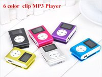 Wholesale 6 colors Mini Clip Mp3 Player With LCD Screen Earphones Retail Box Support Micro SD Card MP3 Player earphone charger gift case